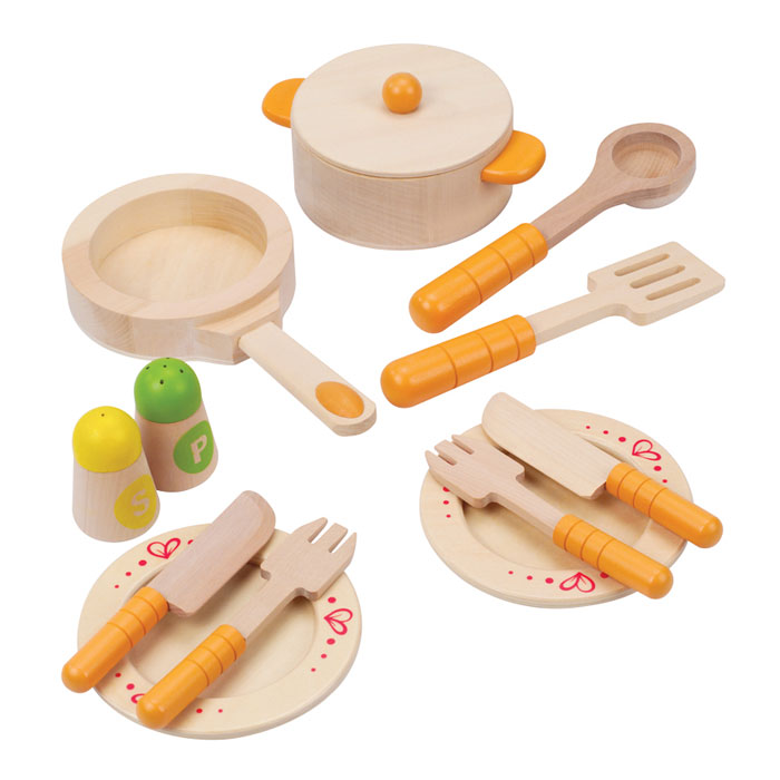 Hape geschirr aus holz fur kinderkuche spielkuche ebay for Geschirr für kinderküche