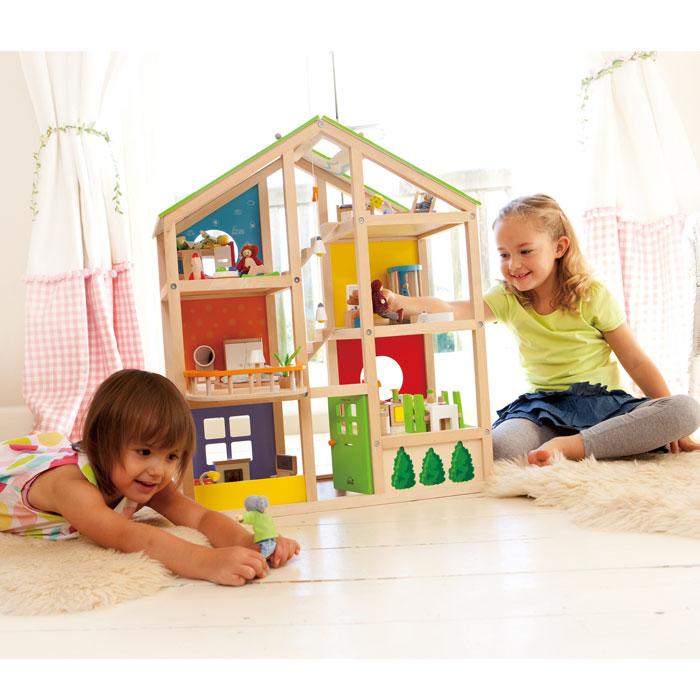 Puppenhaus Tapeten Bodenbel?ge : Details zu Hape Puppenhaus Puppenstube Vier-Jahreszei ten inkl. M?bel