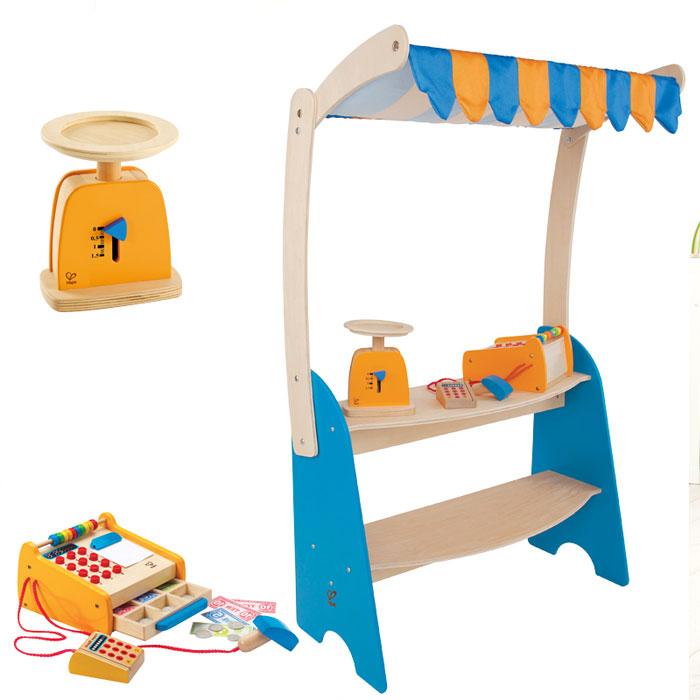 verkaufsstand und kasperletheater holz mit 21 tlg zub kaufmannsladen kaufladen ebay. Black Bedroom Furniture Sets. Home Design Ideas