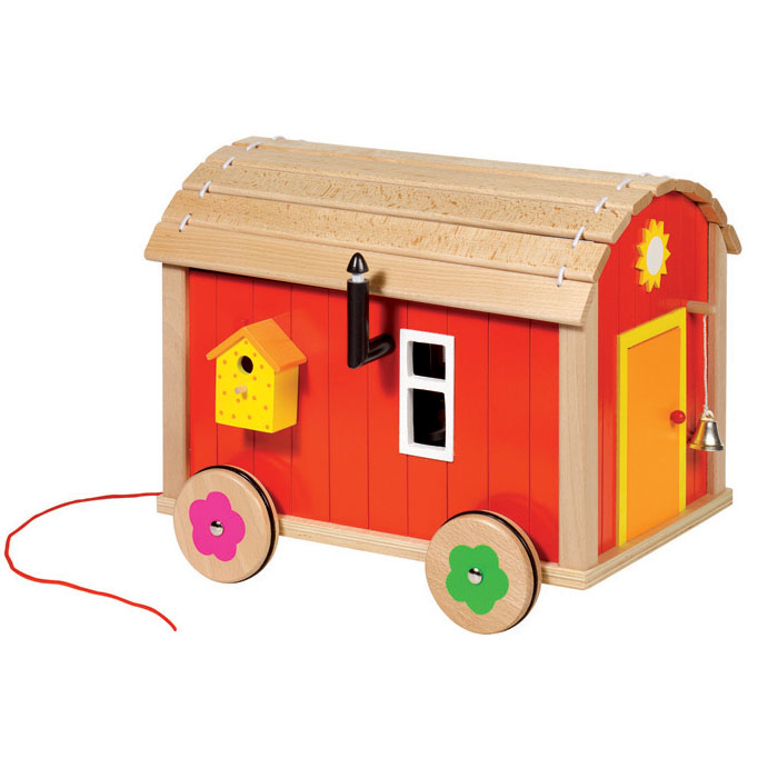 goki puppenhaus als bauwagen mit zubeh r puppenstube aus holz ebay. Black Bedroom Furniture Sets. Home Design Ideas