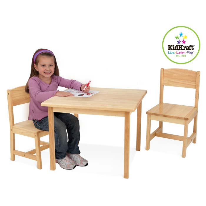Kindermöbel holz natur  KidKraft Tisch mit 2 Stühlen Aspen natur Kindermöbel Holz | eBay