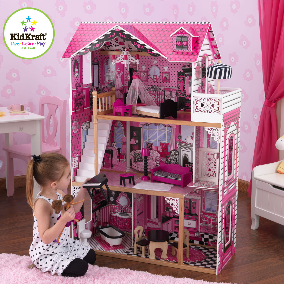 Puppenhaus Holz 30 Cm Puppen ~ Dettagli su KidKraft Puppenhaus Amelia Holz  Puppenstube