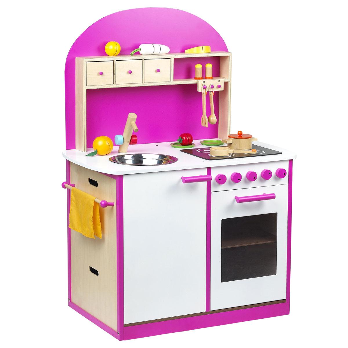 sun kinderk che spielk che aus holz weiss rosa ebay. Black Bedroom Furniture Sets. Home Design Ideas