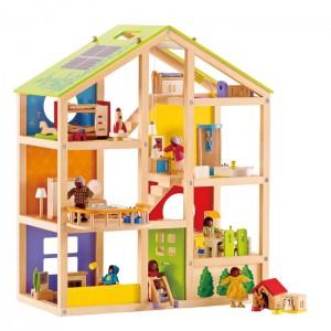 puppenhaus vier jahreszeiten haus aus holz von educo. Black Bedroom Furniture Sets. Home Design Ideas