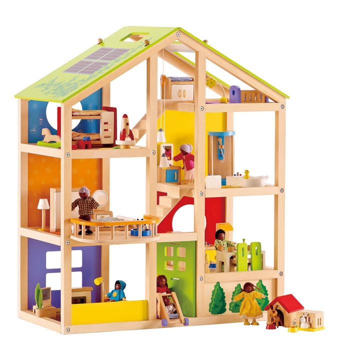 grosses puppenhaus aus holz von eichhorn. Black Bedroom Furniture Sets. Home Design Ideas