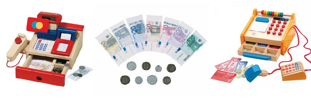 Kaufladenkasse und Spielgeld