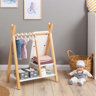 MUSTERKIND® armoire pour poupées  - Barlia naturel / blanc