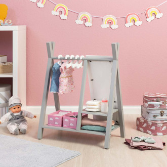 MUSTERKIND® armoire pour poupées  - Barlia gris / blanc