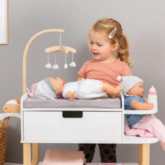 MUSTERKIND® table à langer pour poupée  - Barlia naturel / blanc
