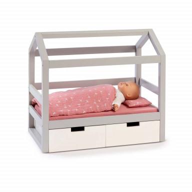 MUSTERKIND Puppen-Hausbett Viola grau/weiß