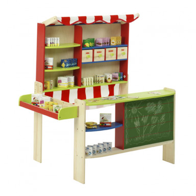Roba wooden toy shop with awning and accessories
