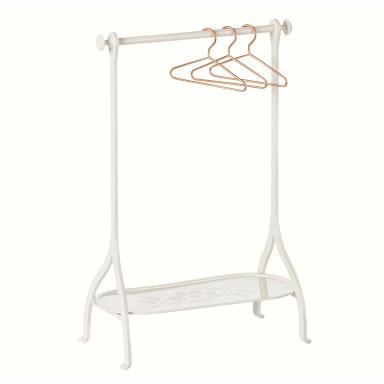 Maileg Puppenhausmöbel Garderobe mit 3 Kleiderbügeln, offwhite