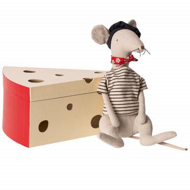 Maileg Ratte in Käseschachtel, hellgrau