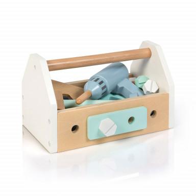 MUSTERKIND® Werkzeugkiste - FAGUS weiß/blau/mint