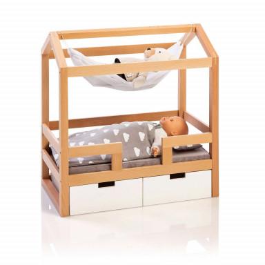 MUSTERKIND® Puppen-Hausbett - Barlia natur/weiß