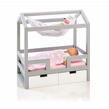 MUSTERKIND® Puppen-Hausbett - Barlia  grau/weiß