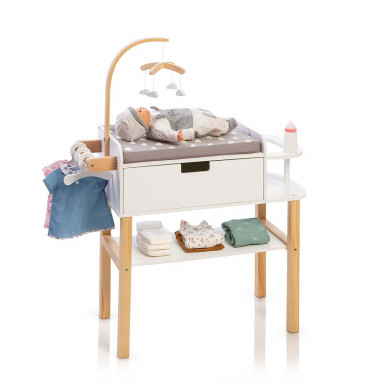 MUSTERKIND® table à langer pour poupée  - Barlia naturel / blanc