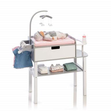 MUSTERKIND® Table à langer pour poupée  - Barlia gris / blanc