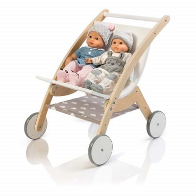 MUSTERKIND® Puppen-ZwillingsWagen - Barlia natur/weiß