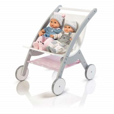 MUSTERKIND® Puppen-ZwillingsWagen - Barlia  grau/weiß