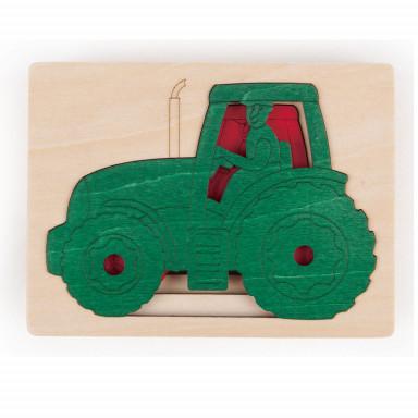 Hape Puzzle cinq tracteurs en un
