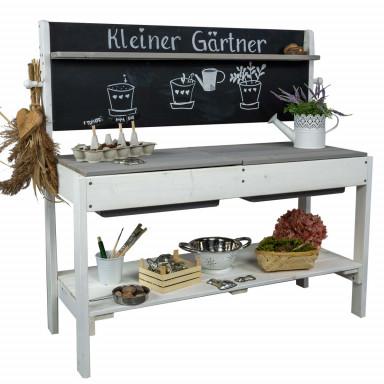 Meppi Matschküche Kleiner Gärtner - weiss / grau