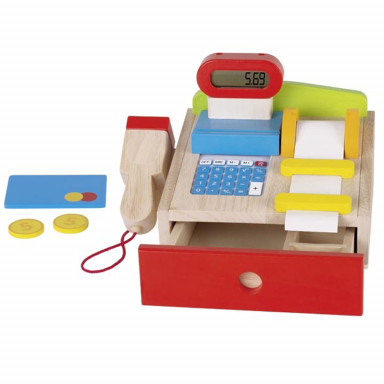 Goki 51807 Play shop cash register with working calculator