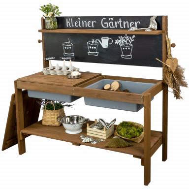 Meppi cocina de barro Jardinero pequeño con pizarra, marrón