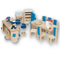 Goki Meble do domku dla lalek — Niebieska kuchnia