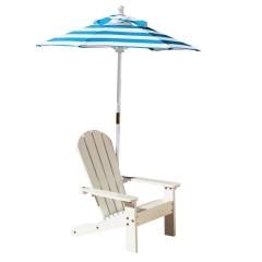 Kidkraft Chaise Adirondack blanche avec parasol rayé turquoise et blanc