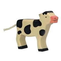 Holztiger Spielfigur Kalb, stehend, schwarz