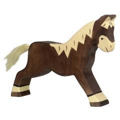 Holztiger Spielfigur Pferd, laufend, dunkelbraun