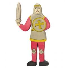 Holztiger Spielfigur Ritter, kämpfend, rot