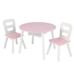 Kidkraft Set met Ronde Opbergtafel en Stoelen - Wit en Roze