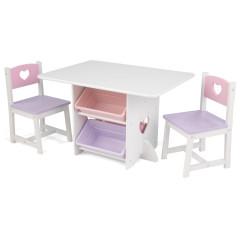 Kidkraft Tafel en 2 stoelen met hartjes - 26913