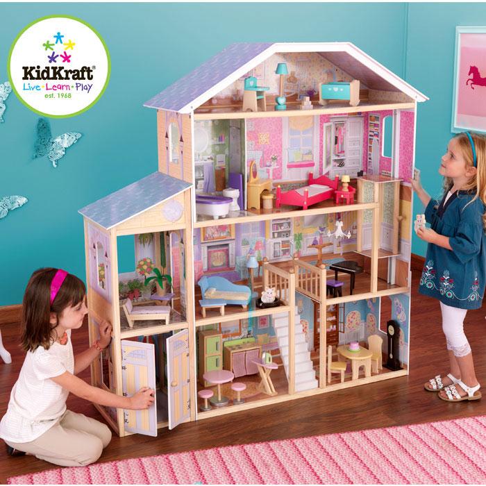 kidkraft 65252 puppenhaus majestic aus holz mit zubeh r. Black Bedroom Furniture Sets. Home Design Ideas