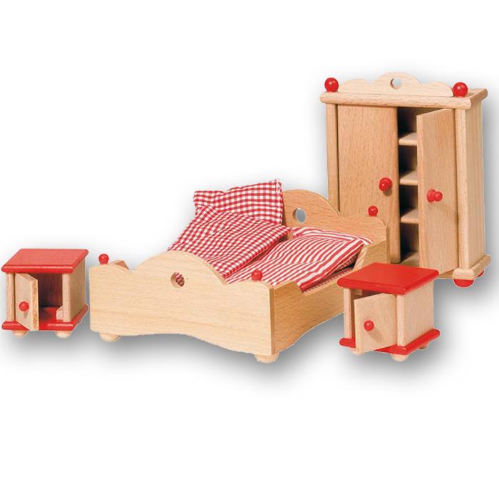 puppenhausm bel holz f r schlafzimmer von goki. Black Bedroom Furniture Sets. Home Design Ideas