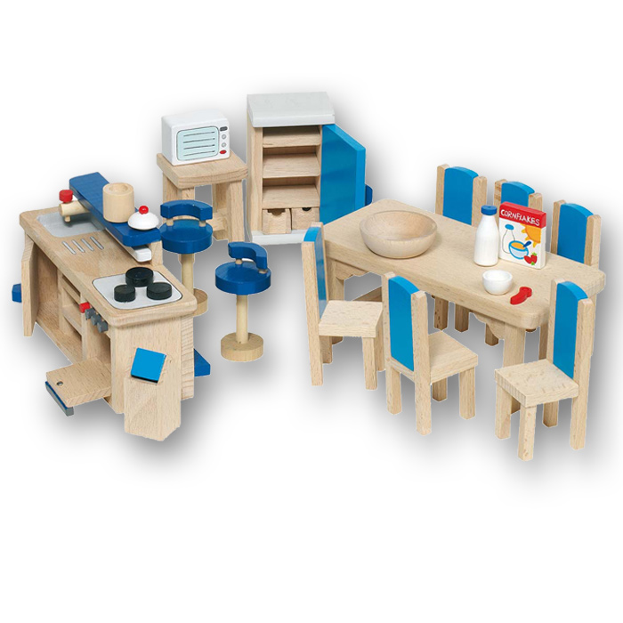 goki puppenhausmöbel küche 51907 aus holz fürs puppenhaus