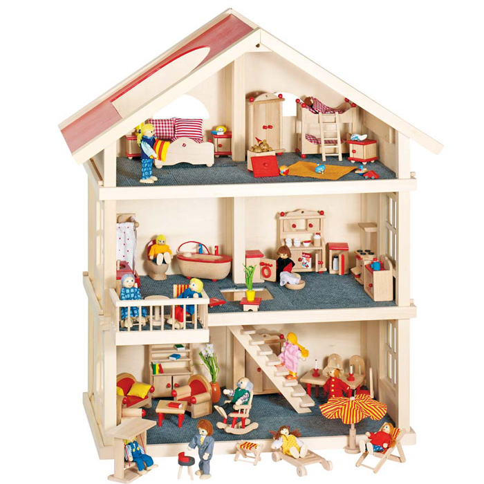 goki puppenhaus 51957 holz mit 3 etagen
