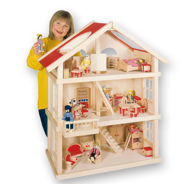 goki puppenhaus 51957 holz mit 3 etagen. Black Bedroom Furniture Sets. Home Design Ideas