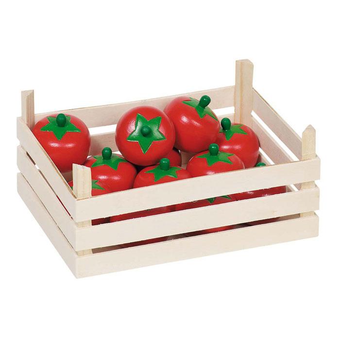 kaufladenzubehör aus holz: tomaten in holzkiste von goki