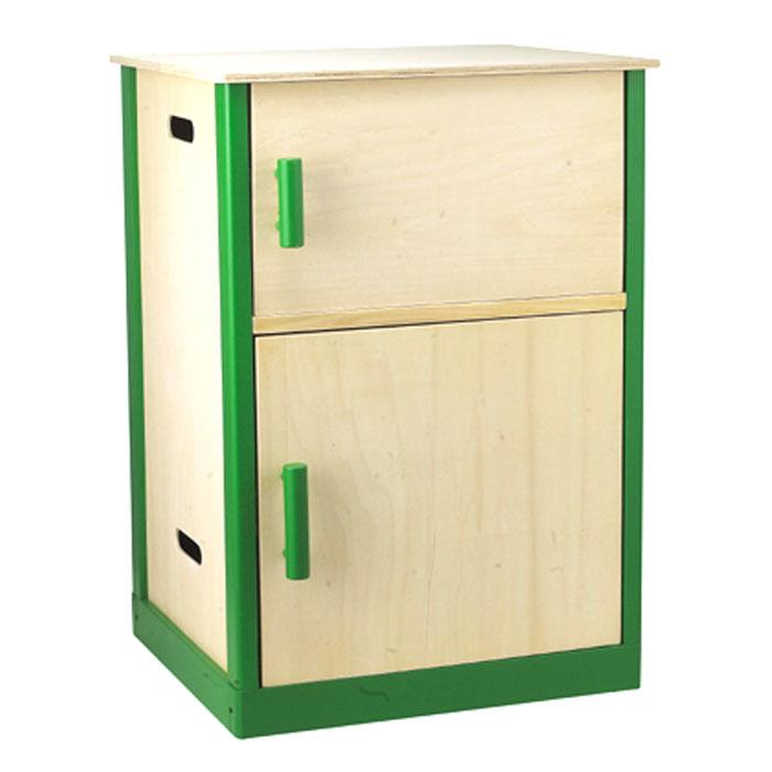 kinderküche: kühlschrank aus holz für kinder von sun,