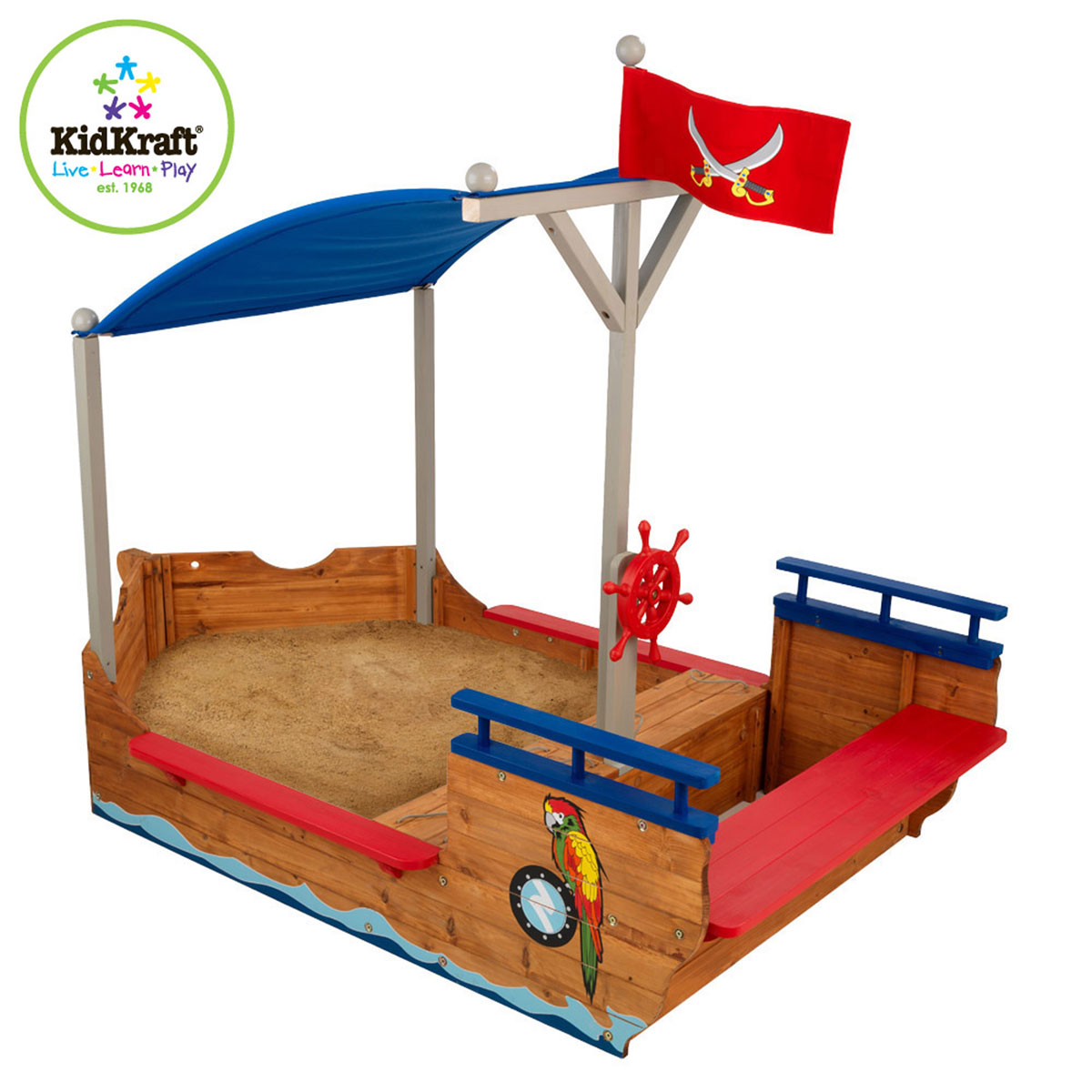 kidkraft sandkasten piratenschiff 128 aus holz pirum holzspielzeuge. Black Bedroom Furniture Sets. Home Design Ideas