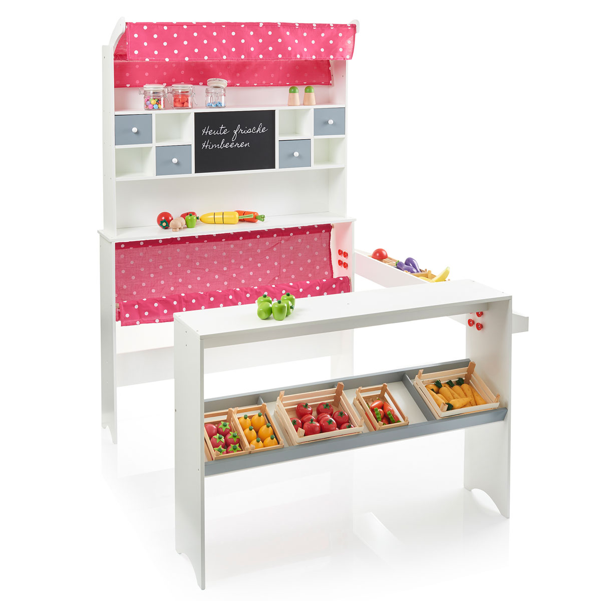 sun kaufladen aus holz mit markise und stoffeinhang 04144 pirum. Black Bedroom Furniture Sets. Home Design Ideas