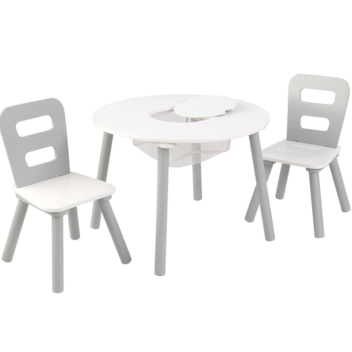 KidKraft Round Table and 2-Chair Set - Gray and White  sc 1 st  PIRUM Holzspielzeuge : kidkraft table and chair set - pezcame.com