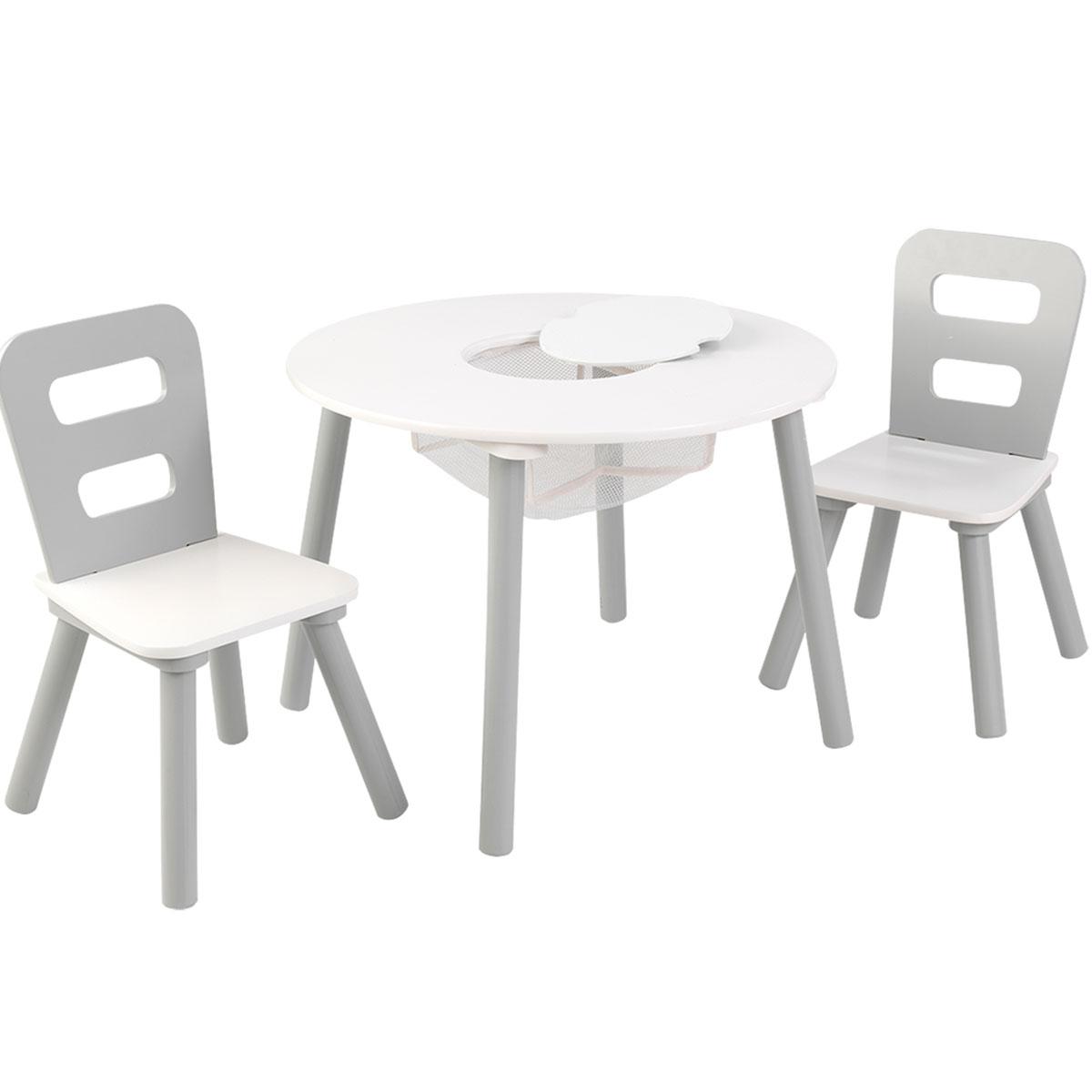 Stühle weiß grau  KidKraft Runder Aufbewahrungstisch mit zwei Stühlen - 26166
