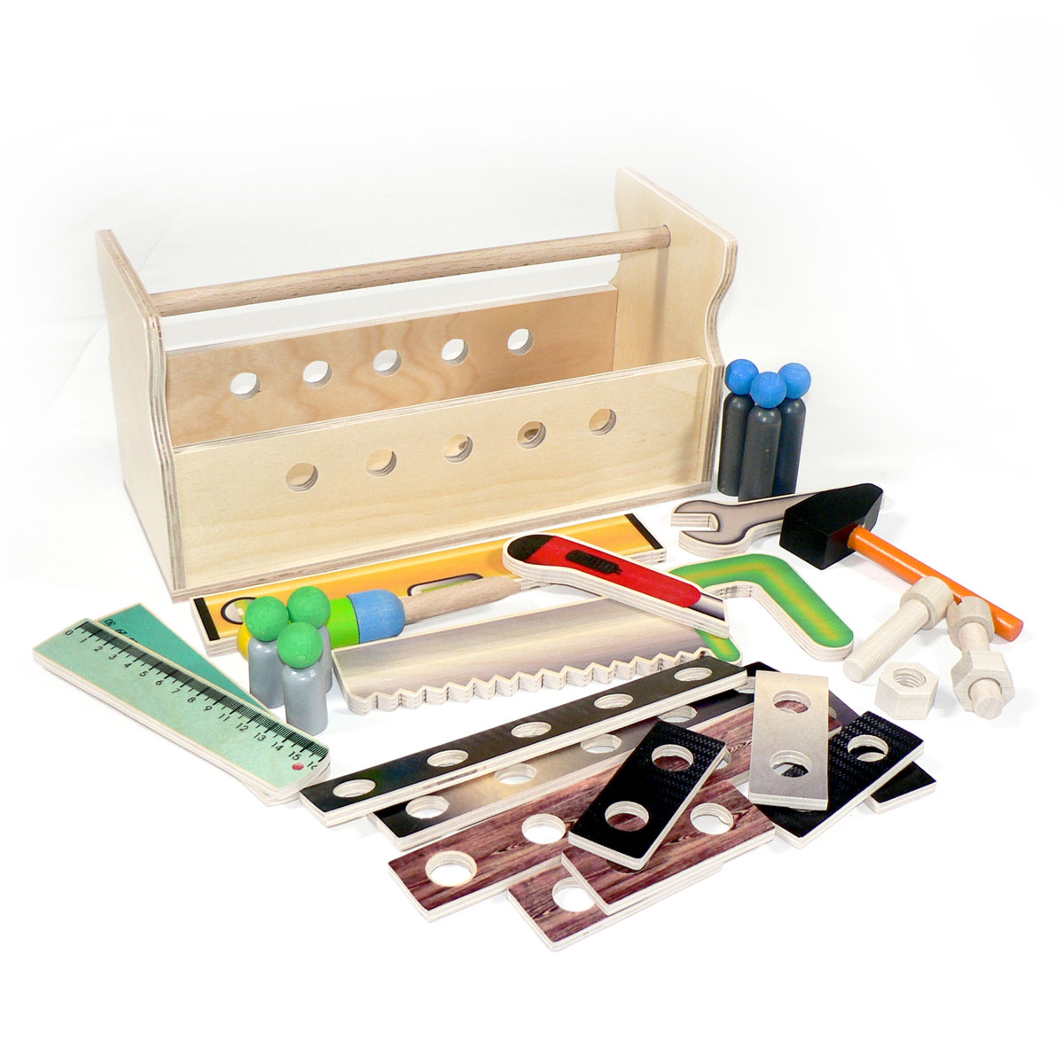 hess werkzeugkiste 14894 aus holz gefüllt mit werkzeug für kinder