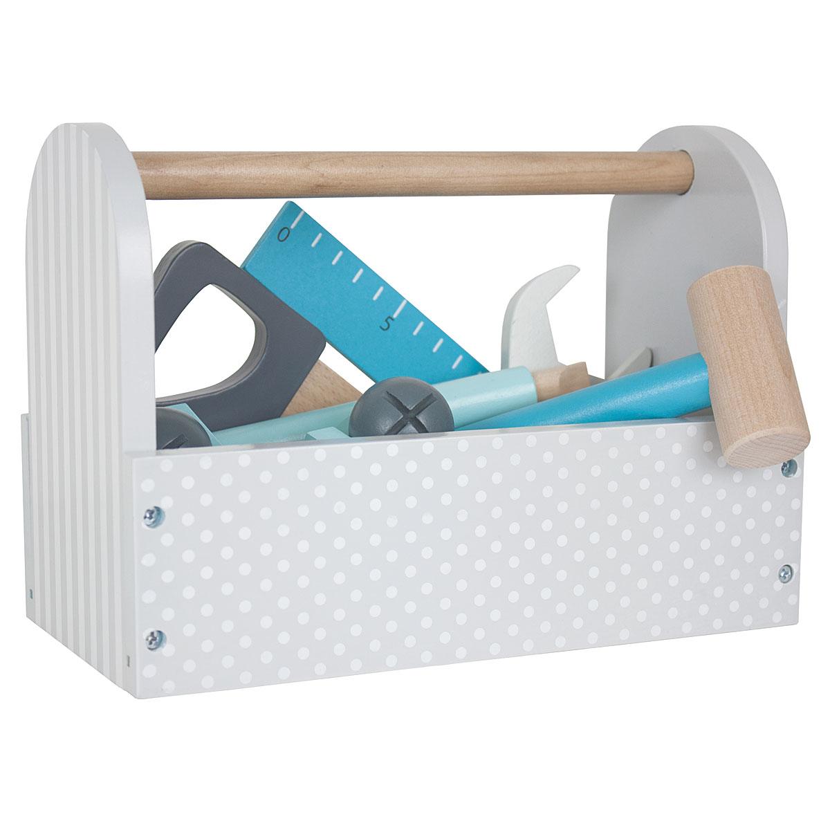jabadabado werkzeugkiste aus holz für kinder - grau - w7105