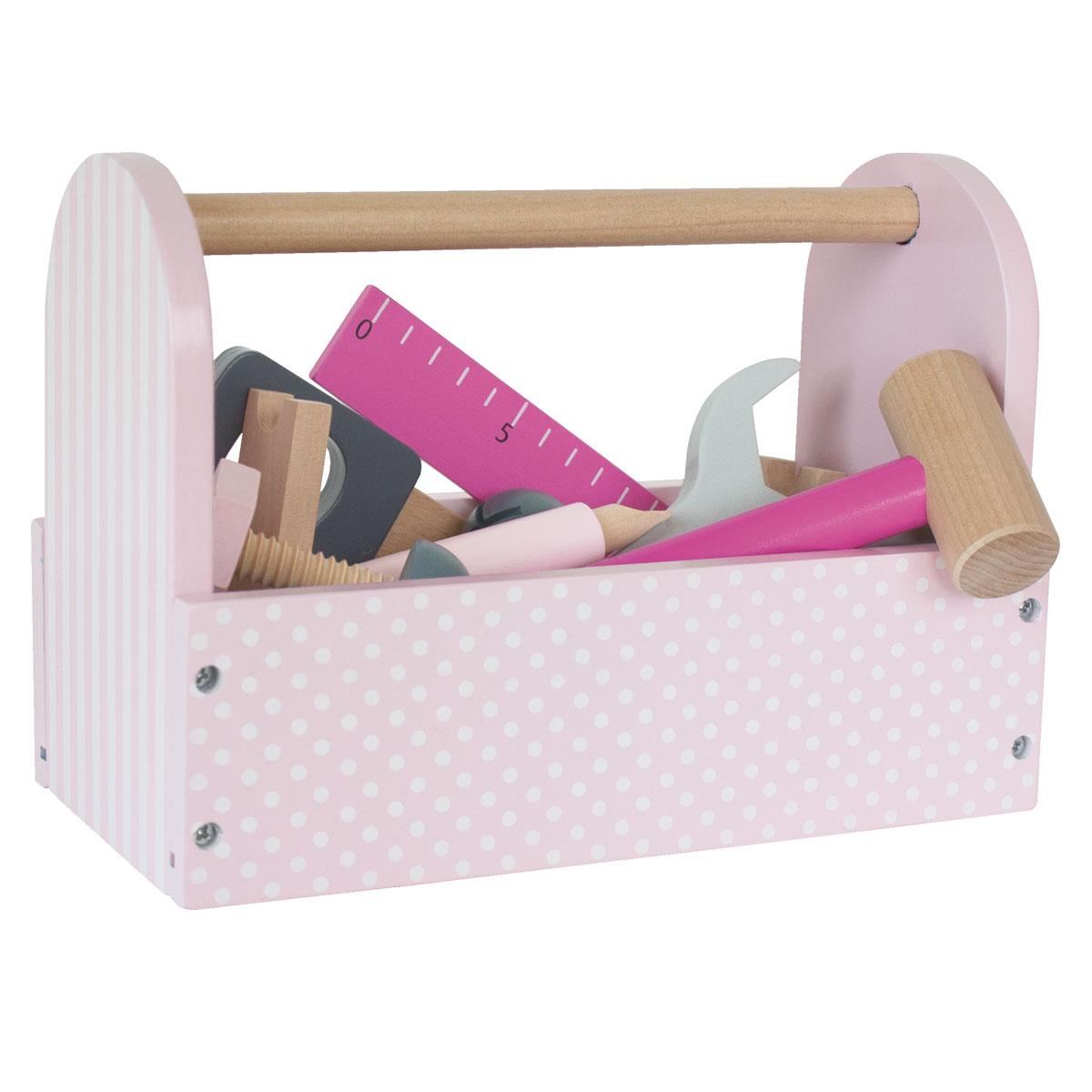 jabadabado werkzeugkiste aus holz für kinder - rosa - w7106