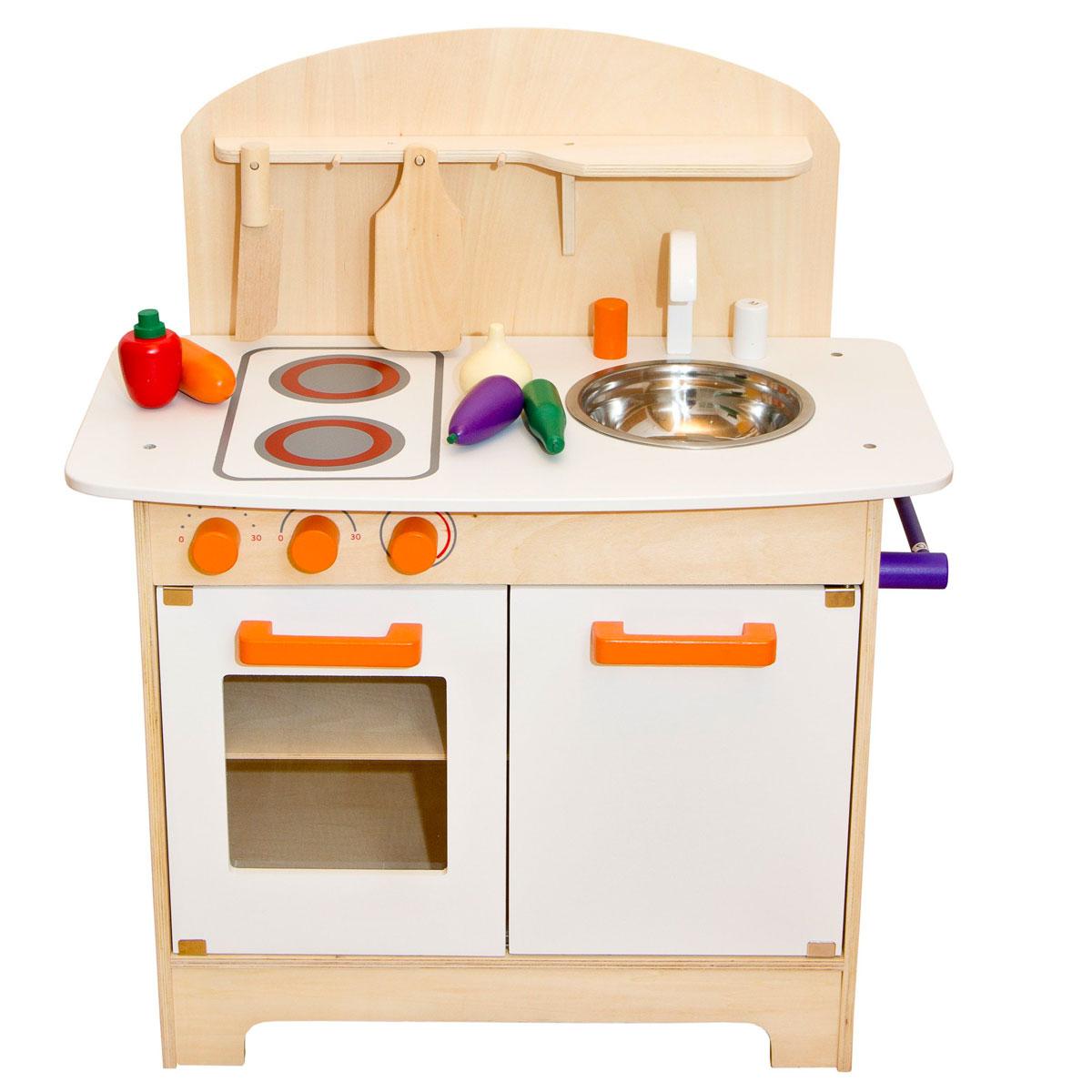 Glow2B Kinderküche aus Holz, weiss inklusive Zubehör